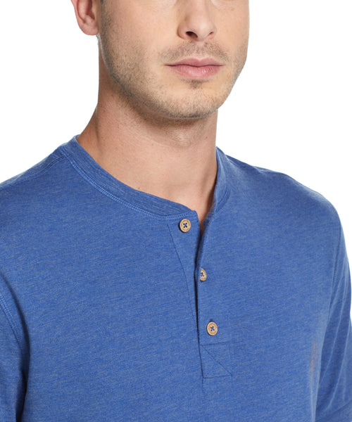 SHORT SLEEVE SUEDED HENLEY IN ESTATE BLUE