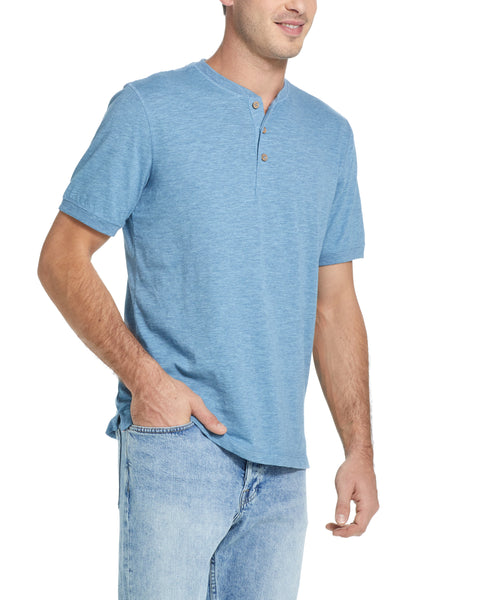 SHORT SLEEVE SUEDED HENLEY IN FADED DENIM