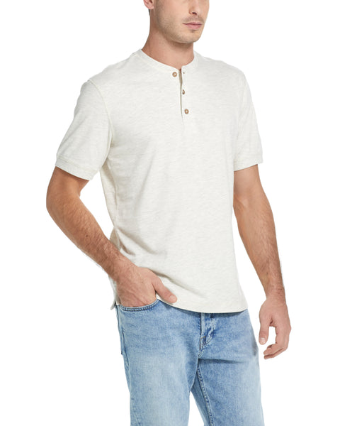 SHORT SLEEVE SUEDED HENLEY IN OATMEAL