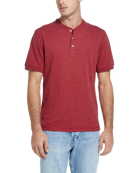 SHORT SLEEVE SUEDED HENLEY IN RIO RED