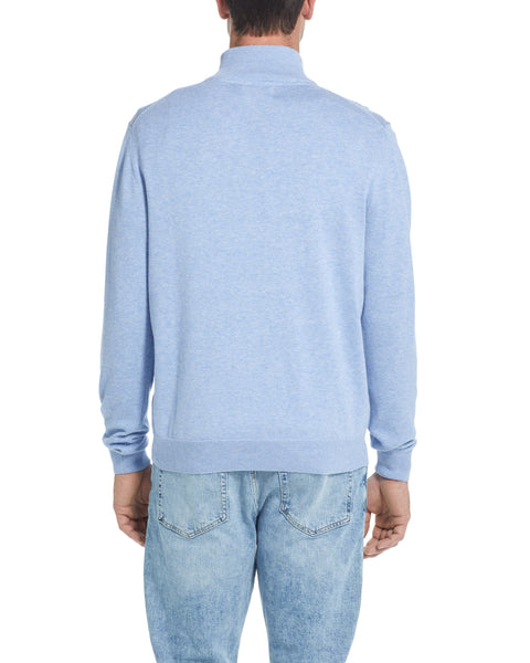 Cotton Quarter Zip Sweater in Blue