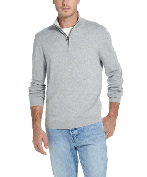 Cotton Quarter Zip Sweater in Grey