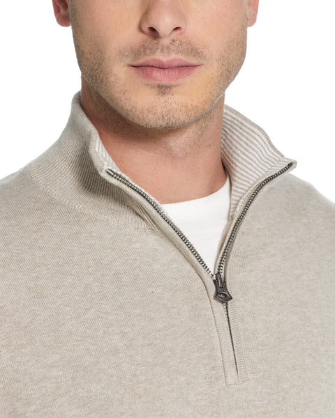 Cotton Quarter Zip Sweater in Khaki