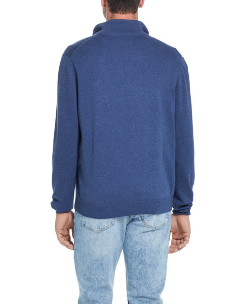 Cotton Quarter Zip Sweater in Navy