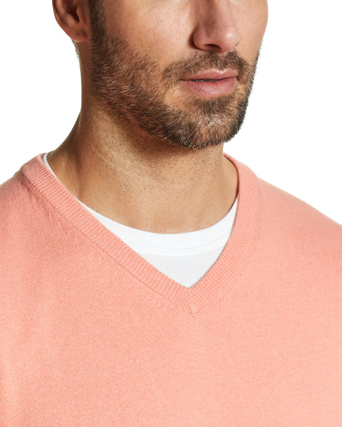 Cotton Cashmere V Neck Sweater in Coral