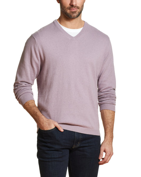 Cotton Cashmere V Neck Sweater in Mist