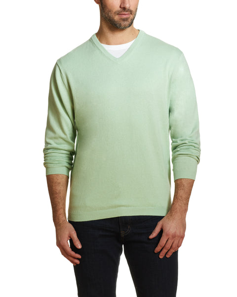 Cotton Cashmere V Neck Sweater in Seafoam