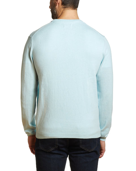Cotton Cashmere V Neck Sweater in Spring Sky