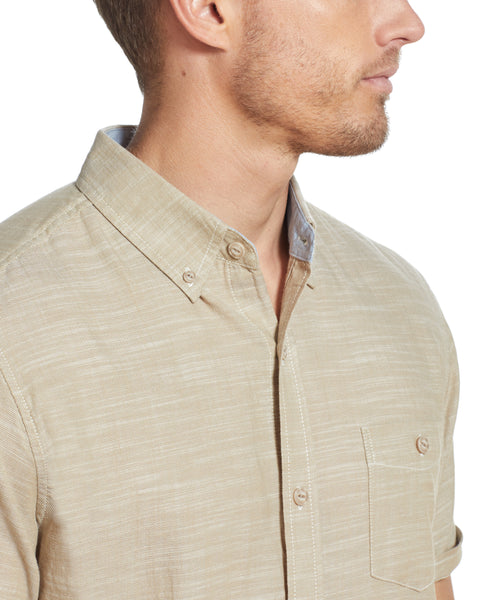 BUTTON DOWN SLUB TWILL SHIRT IN PEBBLE