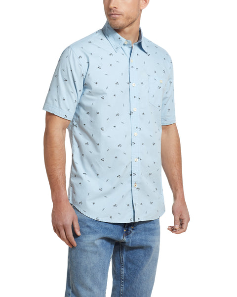 Poplin Printed Shirt in Soft Blue