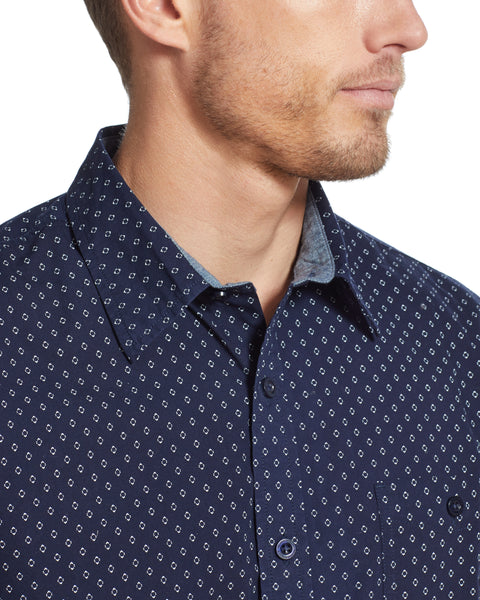Poplin Printed Shirt in Navy