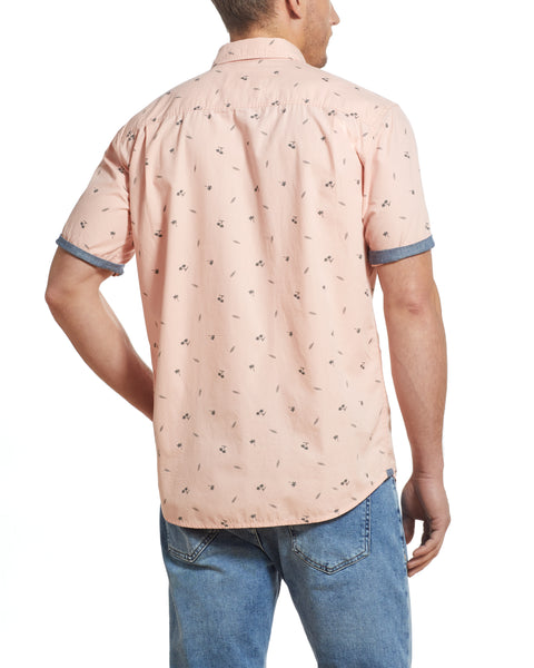 Poplin Printed Shirt in Pink