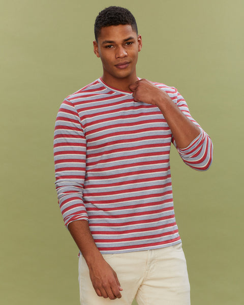 LONG SLEEVE WIDE STRIPE V NECK IN GARNET