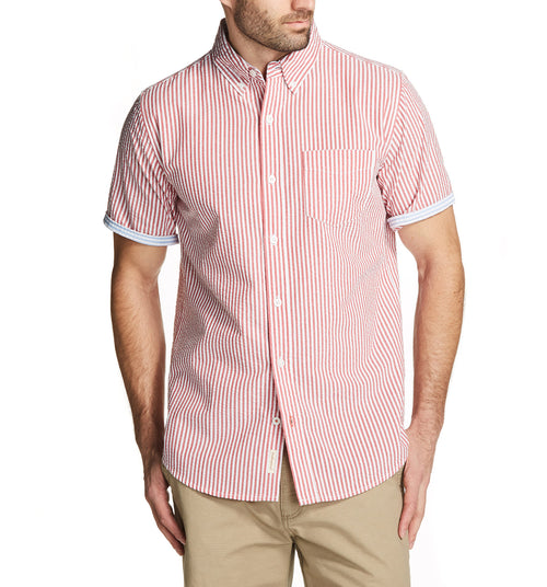 SEERSUCKER SHORT SLEEVE-SPORT SHIRT IN RED