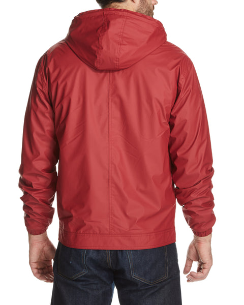 Full-Zip Hooded Rain Slicker in Red