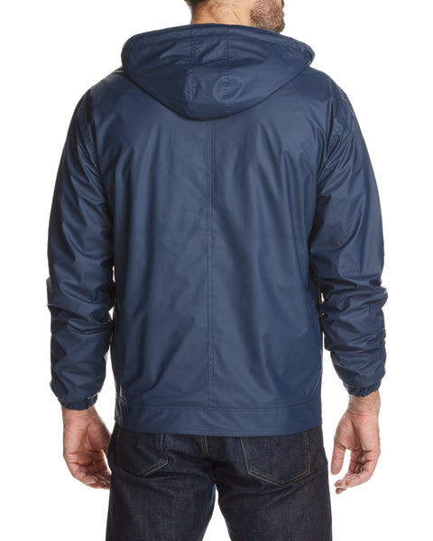 Full-Zip Hooded Rain Slicker in Dress Blue