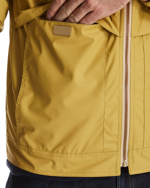 Full-Zip Hooded Rain Slicker in Yellow