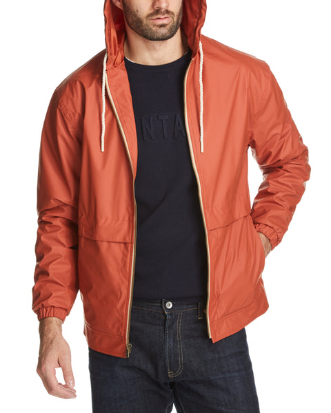 Full-Zip Hooded Rain Slicker in Orange Tea