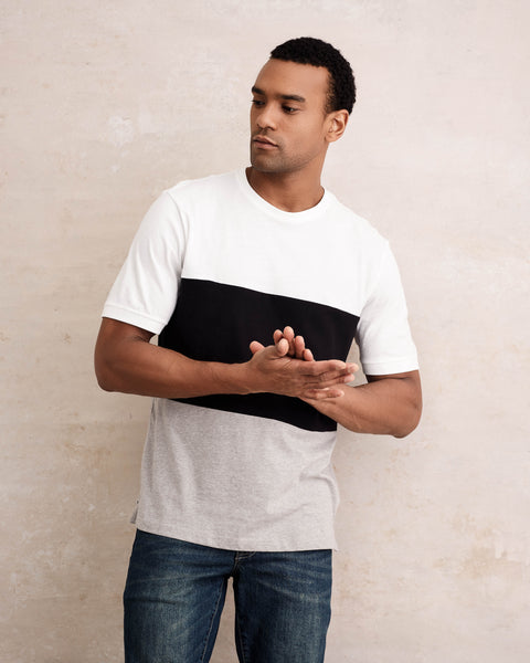 PIECED COLOR-BLOCK CREW TEE  IN WHITE