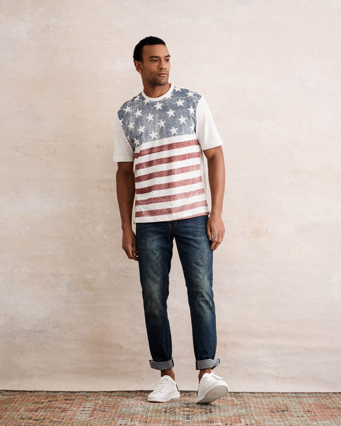 STARS AND STRIPES TEE  IN OATMEAL