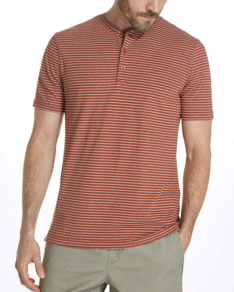 SHORT SLEEVE STRIPE HENLEY IN MOCHA BISQUE