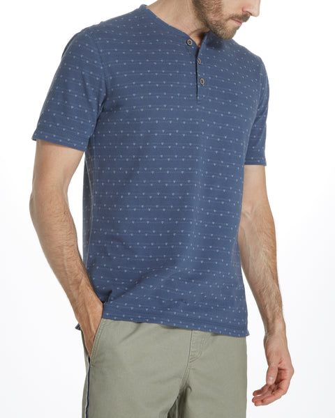 SHORT SLEEVE PIQUE HENLEY IN NAVY