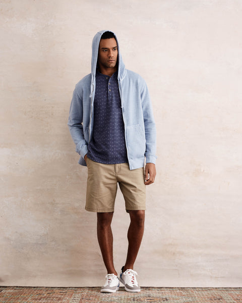 SUN WASH ZIP-UP HOODIE  IN CERULEAN