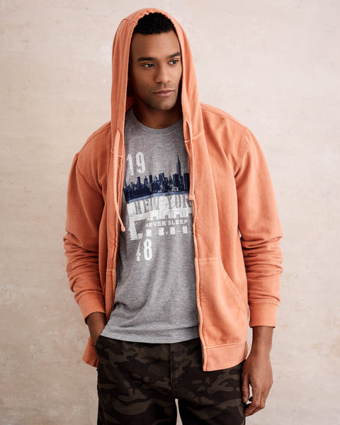 SUN WASH ZIP-UP HOODIE  IN CLAY