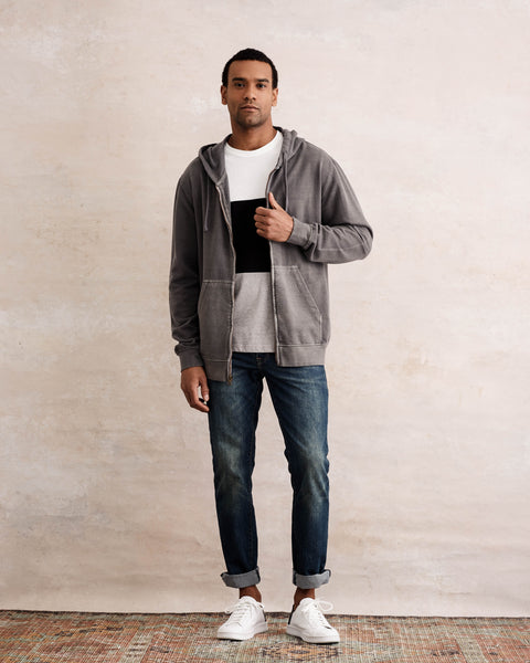 SUN WASH ZIP-UP HOODIE  IN GREY
