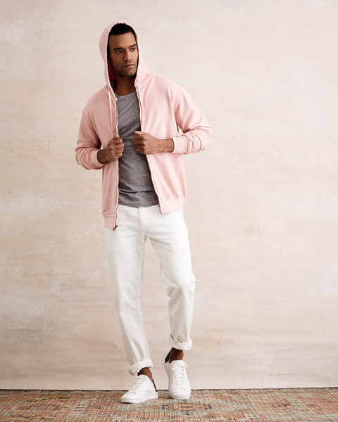 SUN WASH ZIP-UP HOODIE  IN PINK