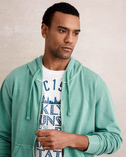 SUN WASH ZIP-UP HOODIE  IN SEA GREEN