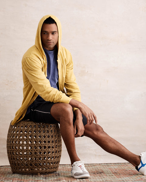 SUN WASH ZIP-UP HOODIE  IN YELLOW