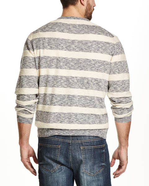 LINEN STRIPE CREW IN DENIM TWIST