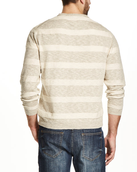 LINEN STRIPE CREW IN LINEN TWIST