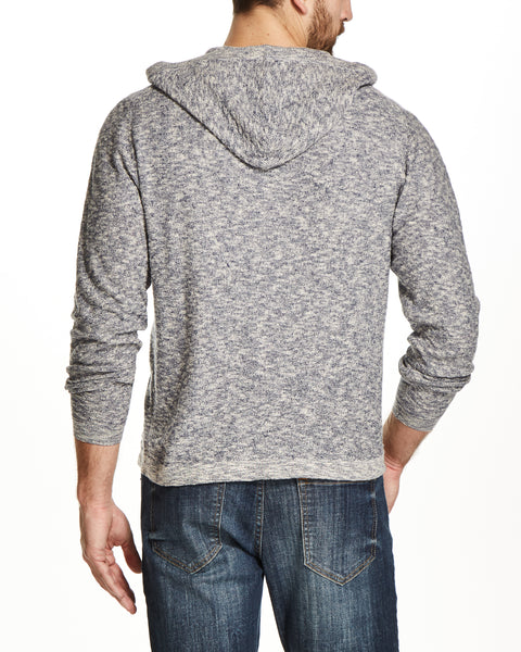 LINEN HOODED HENLEY IN DENIM