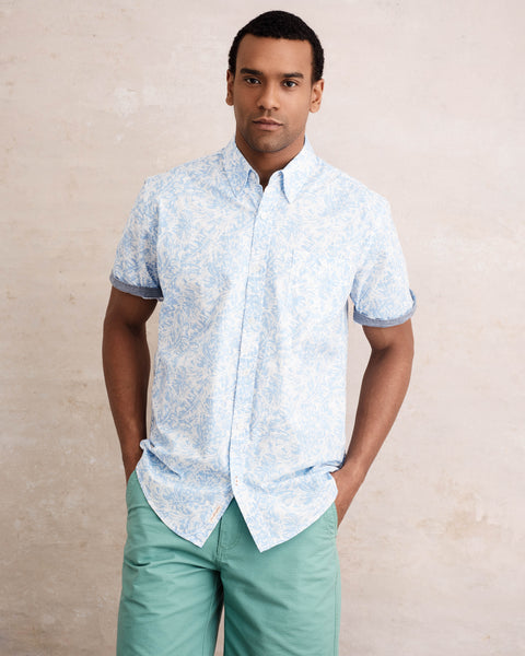 Poplin Printed Button down Shirt in Air Blue