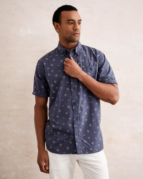 Poplin Printed Button down Shirt in Blue