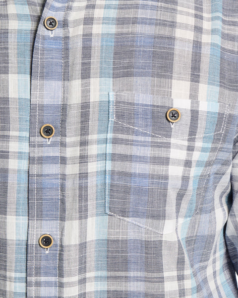 Slub Plaid Shirt in Cerulean