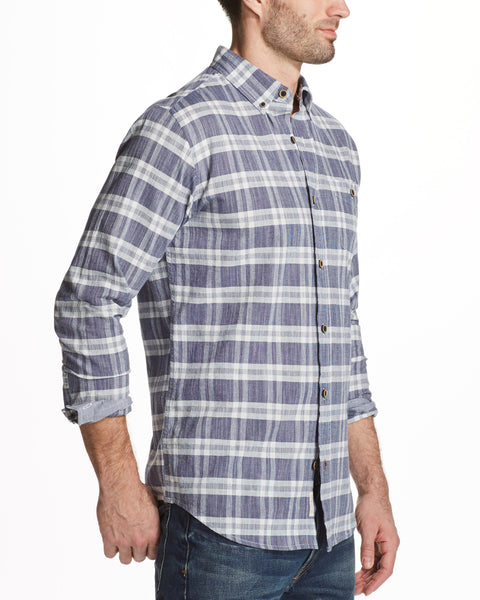 Slub Plaid Shirt in Navy