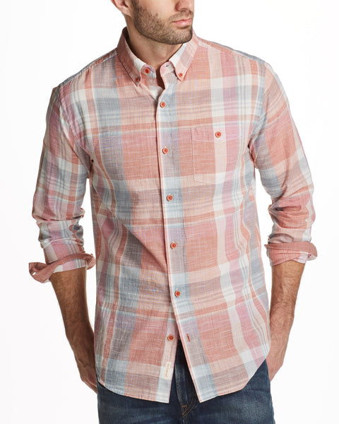 Slub Plaid Shirt in Pomegranate
