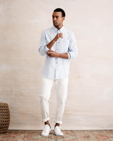 Long Sleeve Linen Button down Shirt in SOFT BLUE