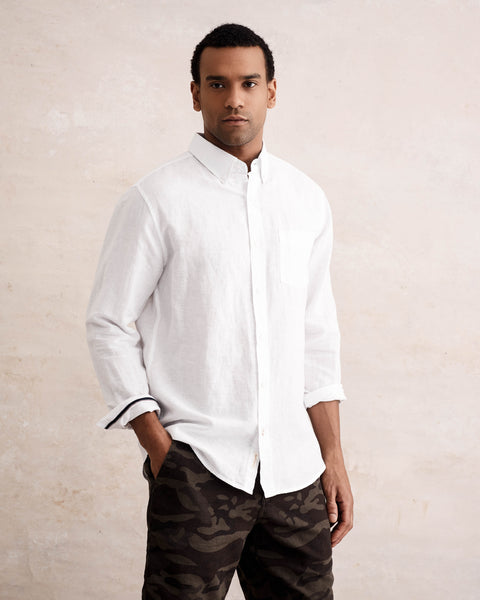 Long Sleeve Linen Button down Shirt in WHITE