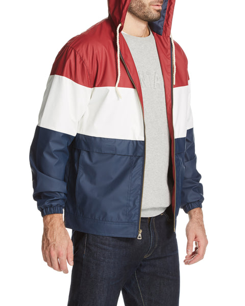 COLOR BLOCK HOODED JACKET IN BIKING RED