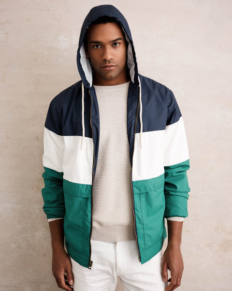 COLOR BLOCK HOODED JACKET IN BLUE NIGHTS