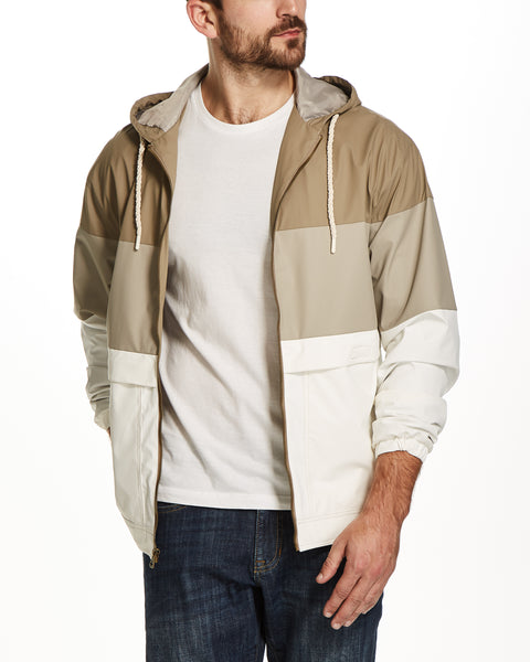 COLOR BLOCK HOODED JACKET IN KHAKI
