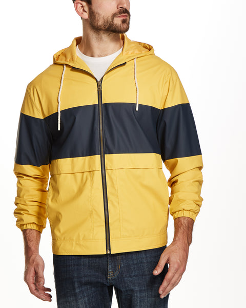 COLOR BLOCK HOODED JACKET IN OCHRE