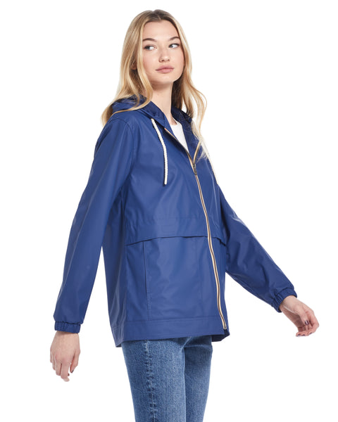 Women's Hooded Rain Slicker in Twilight Blue