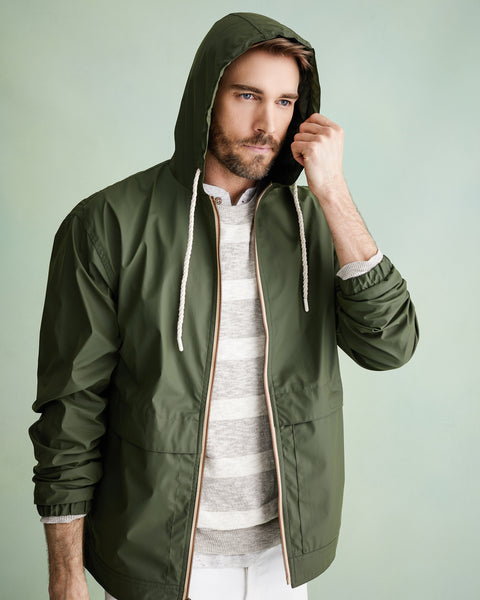 Full-Zip Hooded Rain Slicker in Bronze Green