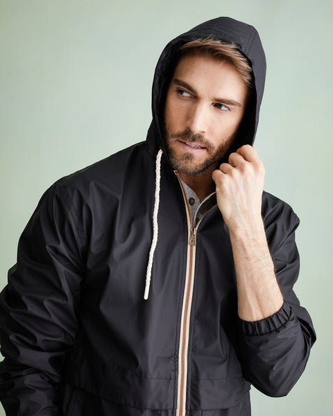 Full-Zip Hooded Rain Slicker in Black