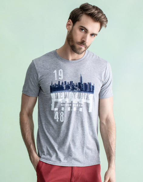 NEW YORK TEE HEATHER GREY
